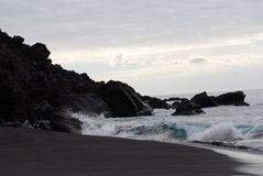 Czarna plaża Fotografia Royalty Free