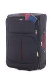 Czarna podróży walizka i dwa paszporta odizolowywających na bielu Zdjęcia Stock