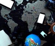 Czarna polityczna mapa świat Wciąż życie podróżnik Obrazy Stock