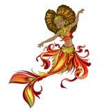 Czarna princess syrenka royalty ilustracja