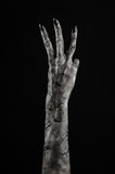 Czarna ręka śmierć chodzący nieboszczyk, żywego trupu temat, Halloween temat, żywy trup ręki, czarny tło, mamuś ręki fotografia stock