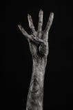 Czarna ręka śmierć chodzący nieboszczyk, żywego trupu temat, Halloween temat, żywy trup ręki, czarny tło, mamuś ręki obrazy royalty free
