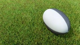 Czarna rugby piłka na trawie Zdjęcia Stock