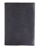 Czarna rzemienna książkowa pokrywa odizolowywająca na białym tle zdjęcie stock