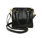 Czarna rzemienna mody torebka na bielu Zdjęcie Stock