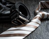 Czarna rzemiennego buta patka i krawat fotografia stock