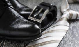 Czarna rzemiennego buta patka i krawat zdjęcie stock