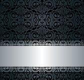 Czarna & srebna rocznik tapeta Zdjęcie Royalty Free