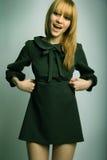 czarna sukienka sexy blondynkę Zdjęcie Royalty Free
