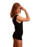 czarna sukienka skrótem kobieta Obraz Stock