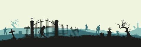 Czarna sylwetka żywi trupy na cmentarnianym tle Koszmaru krajobraz z nieżywymi ludźmi Panorama undead potwór royalty ilustracja