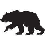 Czarna sylwetka grizzly niedźwiedź Obrazy Stock