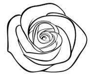 Czarna sylwetka konturu róża, Fotografia Royalty Free