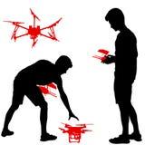 Czarna sylwetka mężczyzna działa bezpilotową quadcopter wektoru ilustrację ilustracja wektor