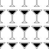 Czarna sylwetka Martini szkło Koktajl ikona bezszwowy wzoru ilustracja wektor