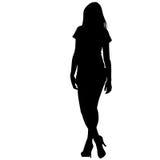 Czarna sylwetki kobiety pozycja, ludzie na białym tle Zdjęcia Stock