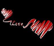 czarna tła czerwony serca Fotografia Royalty Free