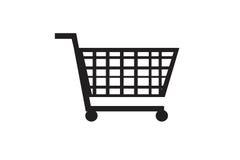 Czarna wózek na zakupy ikona na bielu Zdjęcie Royalty Free