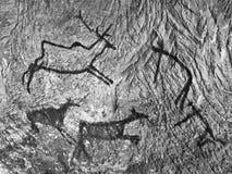 Czarna węgiel farba ludzki polowanie na piaskowiec ścianie, Obrazy Royalty Free