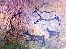 Czarna węgiel farba ludzki polowanie na piaskowiec ścianie, Obraz Stock