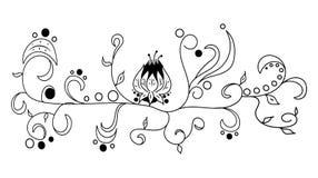 Czarna wektorowa ręka rysujący kwiat Zdjęcie Stock