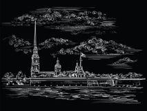 Czarna wektorowa ręka rysuje ST Petersburg 6 ilustracji