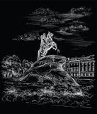 Czarna wektorowa ręka rysuje ST Petersburg 3 ilustracji