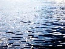 Czarna woda z błyskotaniem od słońca Obrazy Royalty Free