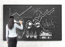Czarna z włosami kobieta rysuje wykres na chalkboard Zdjęcia Stock