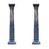 Czarne architektoniczne kolumny odizolowywać na białym tle Zdjęcia Royalty Free