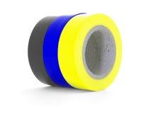 Czarne, błękitne, żółte izolowanie taśmy rolki odizolowywać na białym tle, Obraz Stock
