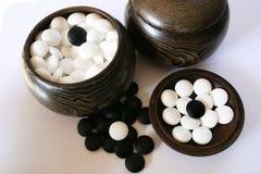 czarne, białe kamienie zestawów Fotografia Royalty Free