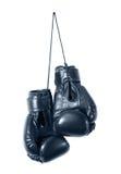 Czarne bokserskie rękawiczki odizolowywać Zdjęcie Stock