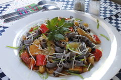 Czarne fasole & Quinoa owoce morza makaron obrazy royalty free