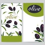 Czarne gałązki oliwne Sztandaru projekt dla oliwy z oliwek, naturalni kosmetyki obrazy royalty free