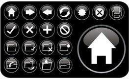czarne glansowane ikony part2 ilustracja wektor