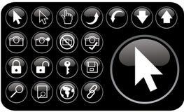czarne glansowane ikony part3 Obraz Stock