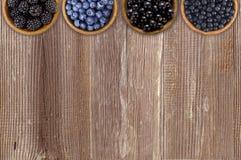 Czarne i błękitne jagody Czernicy, czarne jagody, rodzynki i czarne jagody w, drewniani puchary Fotografia Royalty Free