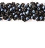 Czarne i Błękitne jagody na bielu Odgórny widok Dojrzałe czernicy i czarne jagody na białym tle Jagody przy granicą wizerunku dow Zdjęcia Stock