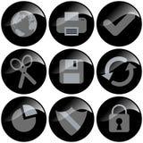 czarne ikony Zdjęcie Royalty Free