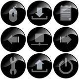 czarne ikony Zdjęcie Stock