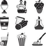 Czarne ikony dla śniadaniowego menu royalty ilustracja