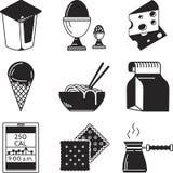 Czarne ikony dla lunchu menu ilustracji