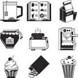 Czarne ikony inkasowe dla śniadania royalty ilustracja
