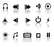 czarne ikony muzyczne Zdjęcia Stock