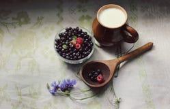 Czarne jagody i cornflowers z mlekiem zdjęcia stock