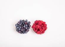 Czarne jagody i malinki w filiżankach Obrazy Royalty Free