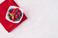 Czarne jagody i malinki z nowymi liśćmi obraz stock