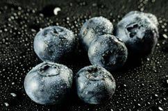 Czarne jagody na czerni Fotografia Royalty Free