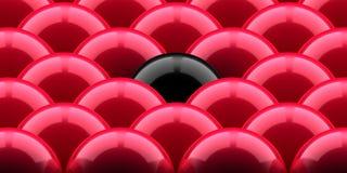 czarne jaja jeden czerwony Zdjęcie Stock